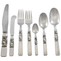 Scroll by Georg Jensen Danish Sterling Silver Flatware Set Service 56 Pieces