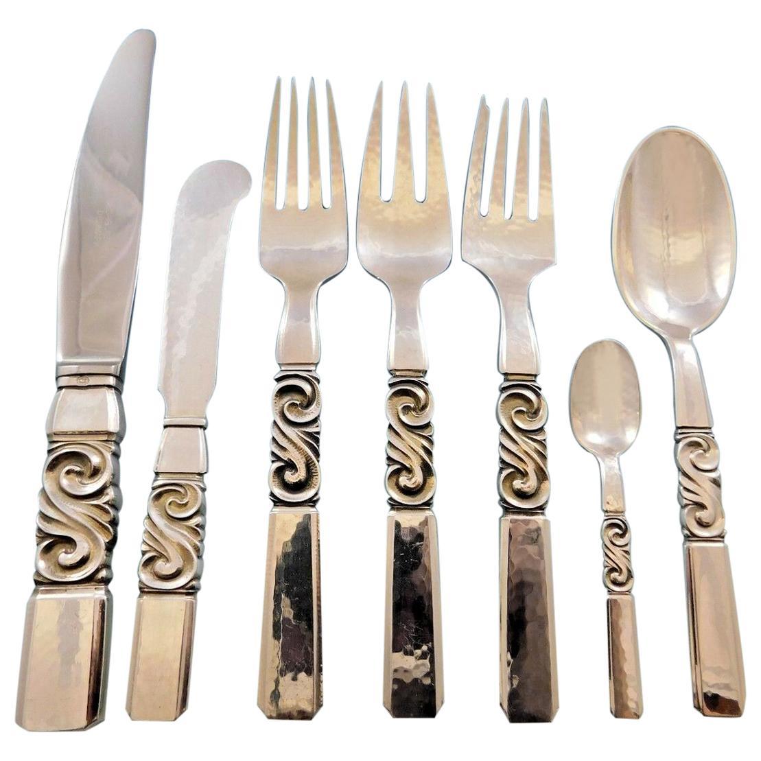 Scroll by Georg Jensen Danish Sterling Silver Flatware Set Service 61 Pieces