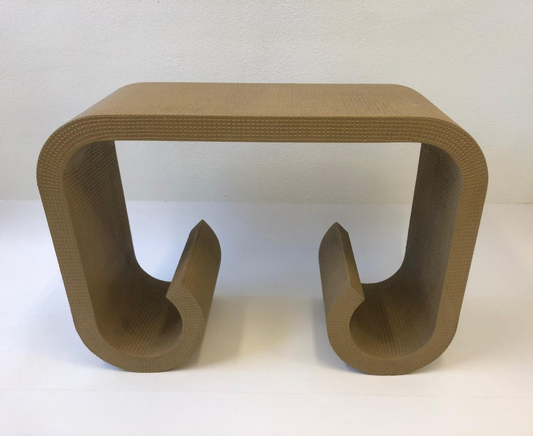 Scroll Console Table in the Manner of Karl Springer For Sale 2