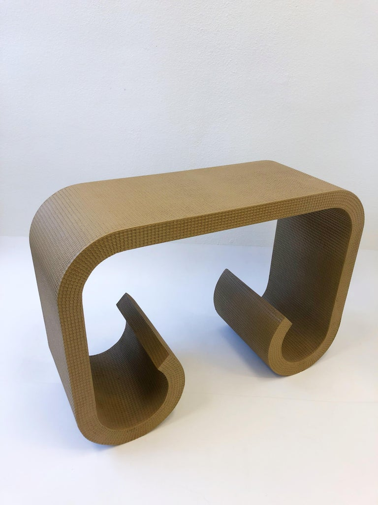 Modern Scroll Console Table in the Manner of Karl Springer For Sale