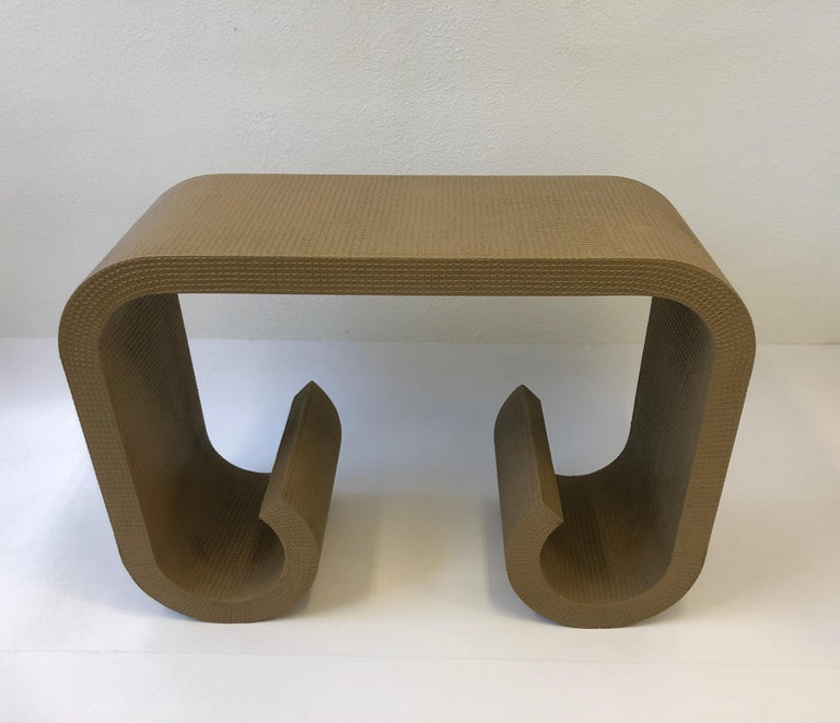 Lacquered Scroll Console Table in the Manner of Karl Springer For Sale