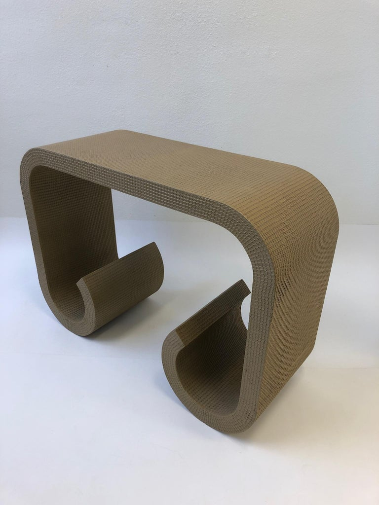 Scroll Console Table in the Manner of Karl Springer In Excellent Condition For Sale In Palm Springs, CA