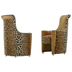 Scroll Headrest Neo Deco Velvet Leopard Print High Back Lounge Chairs