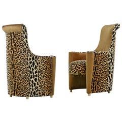 Scroll Headrest Neo Deco Velvet Leopard Print High Back Lounge Chairs