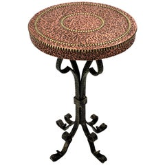 Scroll Motif Wrought Iron End Drinks Table Gueridon with Copper Hammered Top