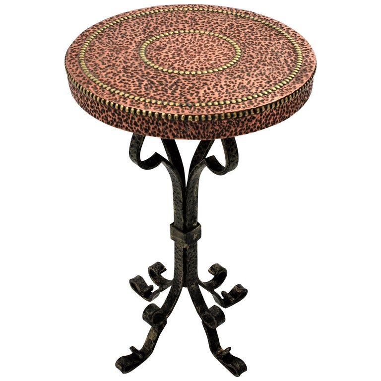 Wrought Iron End Drinks Table Gueridon With Copper Hammered Top