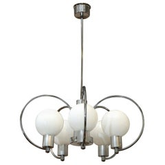 Scrolled 5-Arm Chrome Plated and Aluminum 5 Large White Glass Globes Chandelier