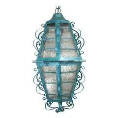 Large Scrolled Iron Turquoise Lantern