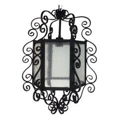 Large French Scrolled Hand Crafted  Iron  Lantern Circa 1940's