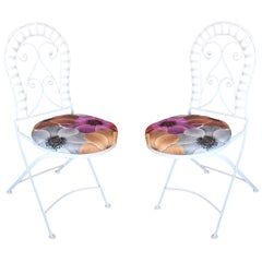 Scrolling Cast Iron Folding Patio Outdoor Chair, Pair