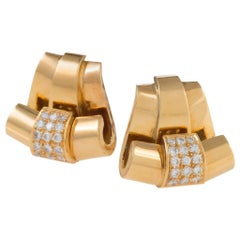 Scrolling Gold and Diamond Ribbon Earrings