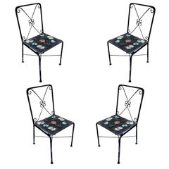 Scrolling Iron Patio/Outdoor Lounge Chair with Pad Seat, Set of Four