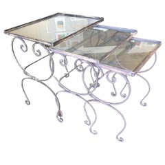 Scrolling Steel Outdoor/Patio Nesting Side Tables with Glass Tops, Set of 3