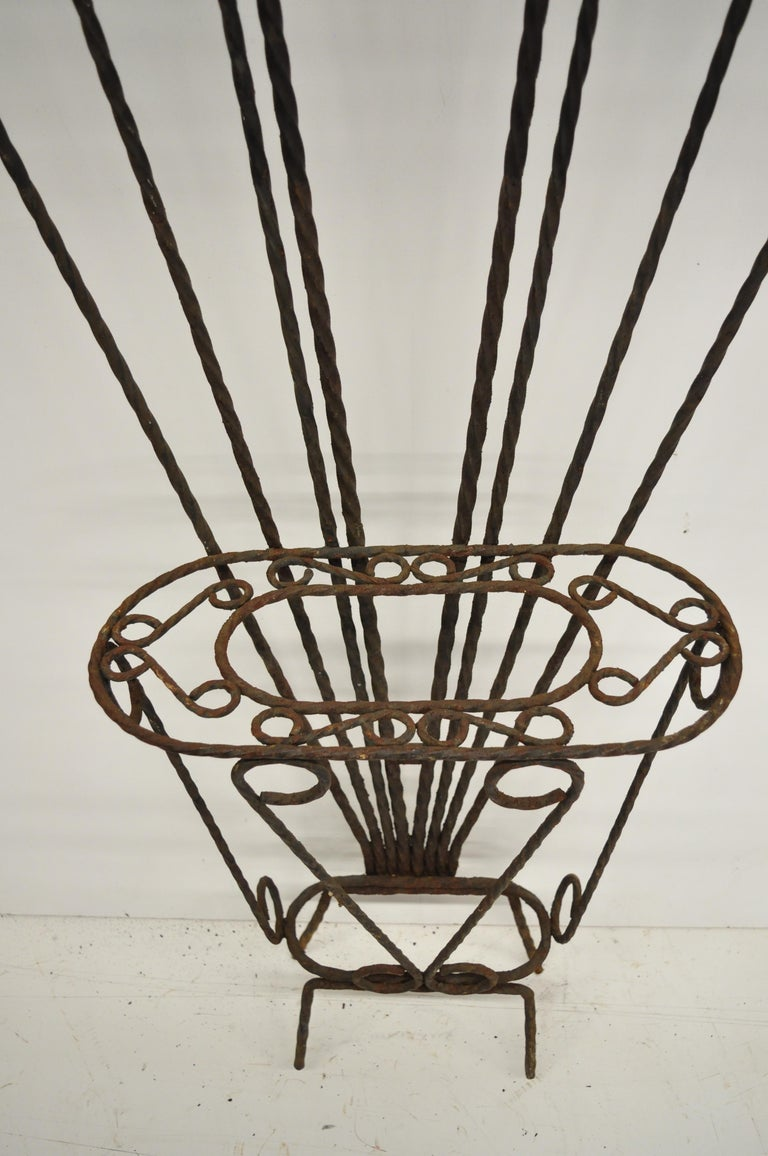 Scrolling Wrought Iron Hall Tree Coat Umbrella Mirror Stand Arts & Crafts Style In Distressed Condition For Sale In Philadelphia, PA