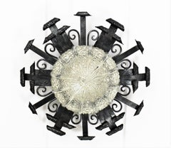 Wrought Iron Scrollwork Ceiling Flush Mount with Glass Shade, Spain, 1950s
