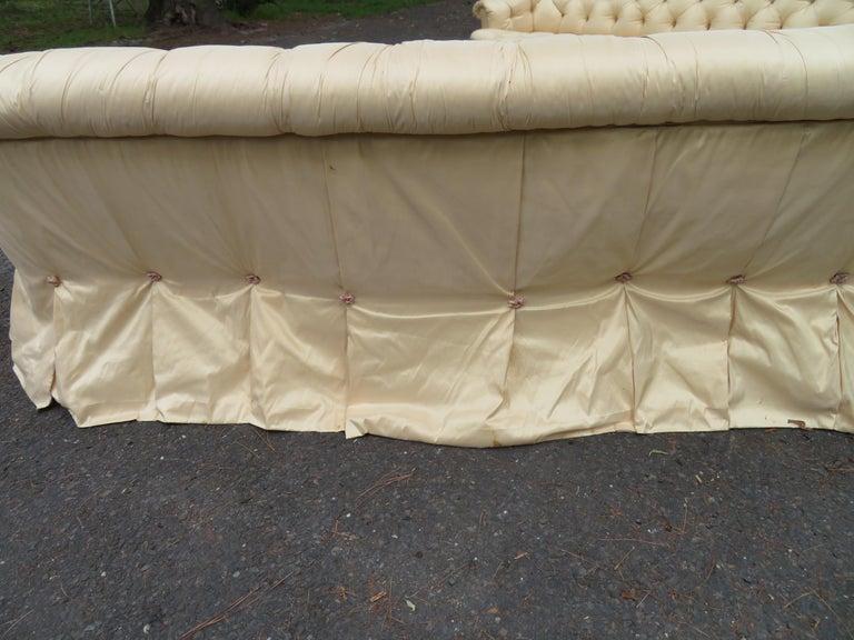 Scrumptious Hollywood Regency Tufted Skirted Sofa Glamorous Dorothy Draper, Pair For Sale 6