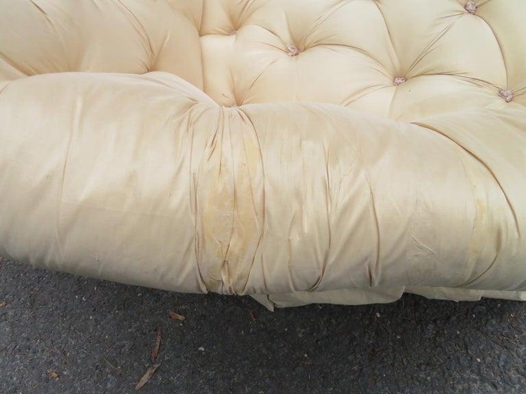 Scrumptious Hollywood Regency Tufted Skirted Sofa Glamorous Dorothy Draper, Pair For Sale 8