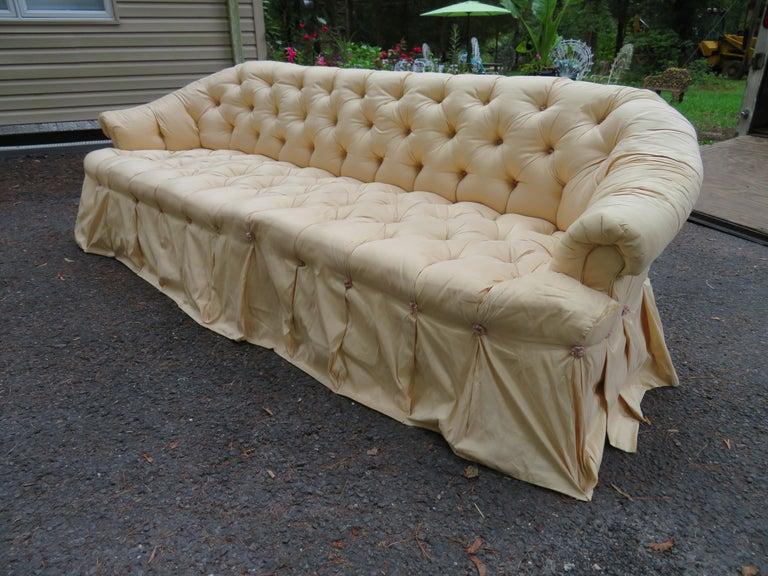 Mid-20th Century Scrumptious Hollywood Regency Tufted Skirted Sofa Glamorous Dorothy Draper, Pair For Sale