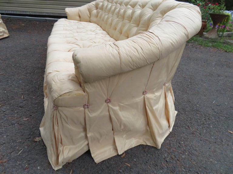 Upholstery Scrumptious Hollywood Regency Tufted Skirted Sofa Glamorous Dorothy Draper, Pair For Sale