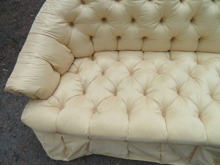 Scrumptious Hollywood Regency Tufted Skirted Sofa Glamorous Dorothy Draper, Pair For Sale 2