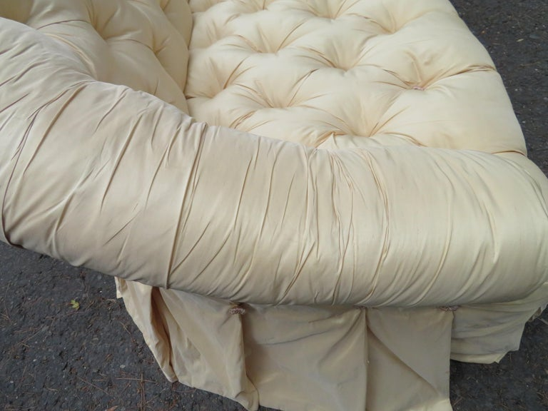 Scrumptious Hollywood Regency Tufted Skirted Sofa Glamorous Dorothy Draper, Pair For Sale 3