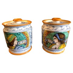 Scrumptious Pair of Provencal Ceramic Painted Lidded Apothecary Jars