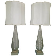 Scrumptious Pair of XL Italian Murano Gold Fleck Bubble Lamps Hollywood Regency