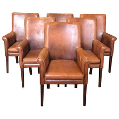 Scrumptious Set of 6 Buttery Leather Armchairs