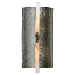 Scudo Sconce Champagne, Murano Glass, White Gold Leaf Brass Detailing 'US Spec'