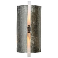 Scudo Sconce Champagne, Textured Murano Glass, White Gold Leaf, Brass Detailing
