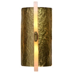 Scudo Sconce Oro, Textured Murano Glass, Gold Leaf and Brass Detailing