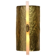 Scudo Sconce Oro, Textured Murano Glass Gold Leaf and Brass Detailing 'US Spec'