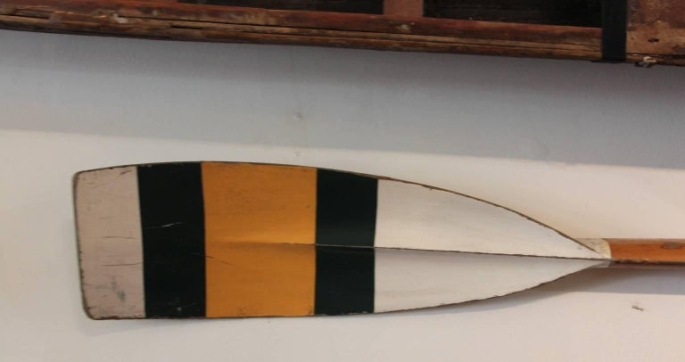 Scull Boat with Oars In Distressed Condition For Sale In Sag Harbor, NY