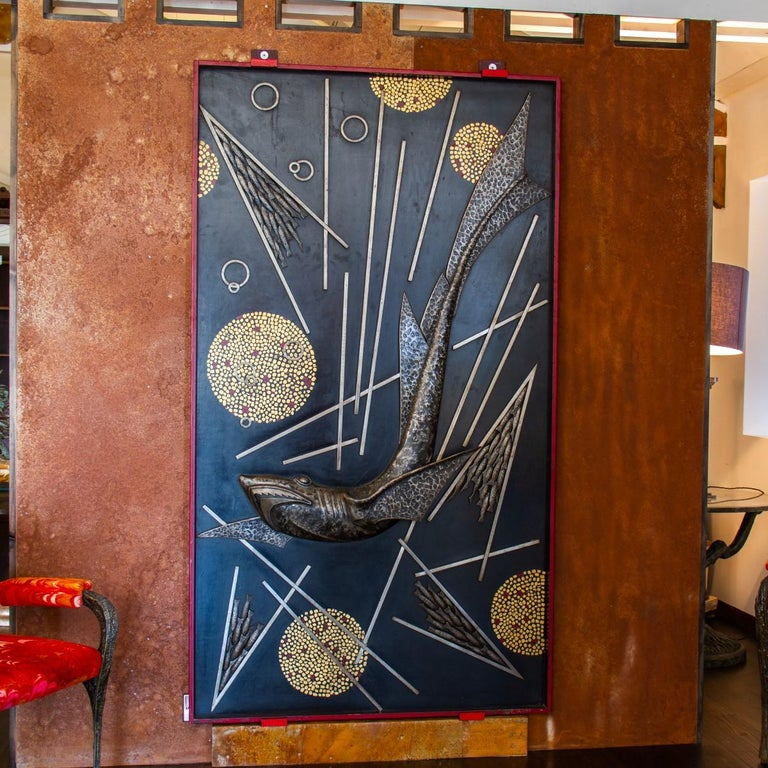 Art Deco Sculpted and Cast Metal Panel by Michel Zadounaisky, 1933 For Sale