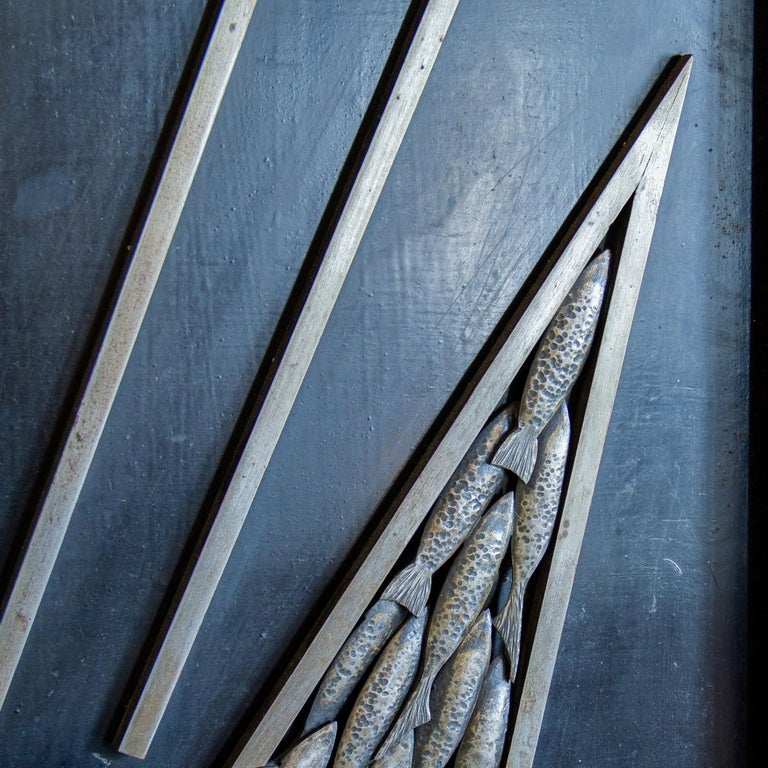 French Sculpted and Cast Metal Panel by Michel Zadounaisky, 1933 For Sale