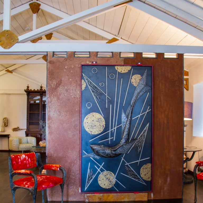 Steel Sculpted and Cast Metal Panel by Michel Zadounaisky, 1933 For Sale
