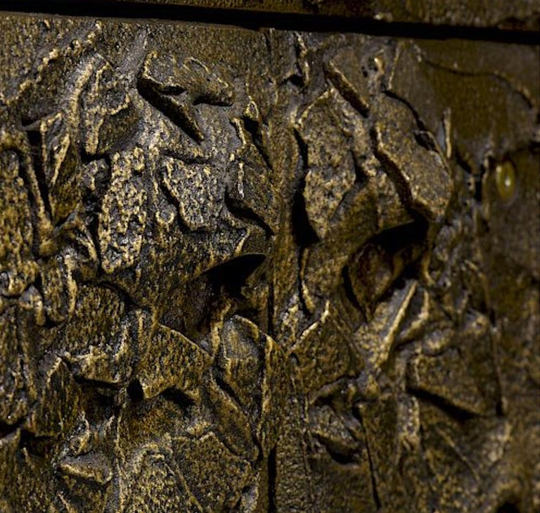 Brutalist Sculpted and Patinated Bronze Cabinet by Paul Evans for Directional For Sale