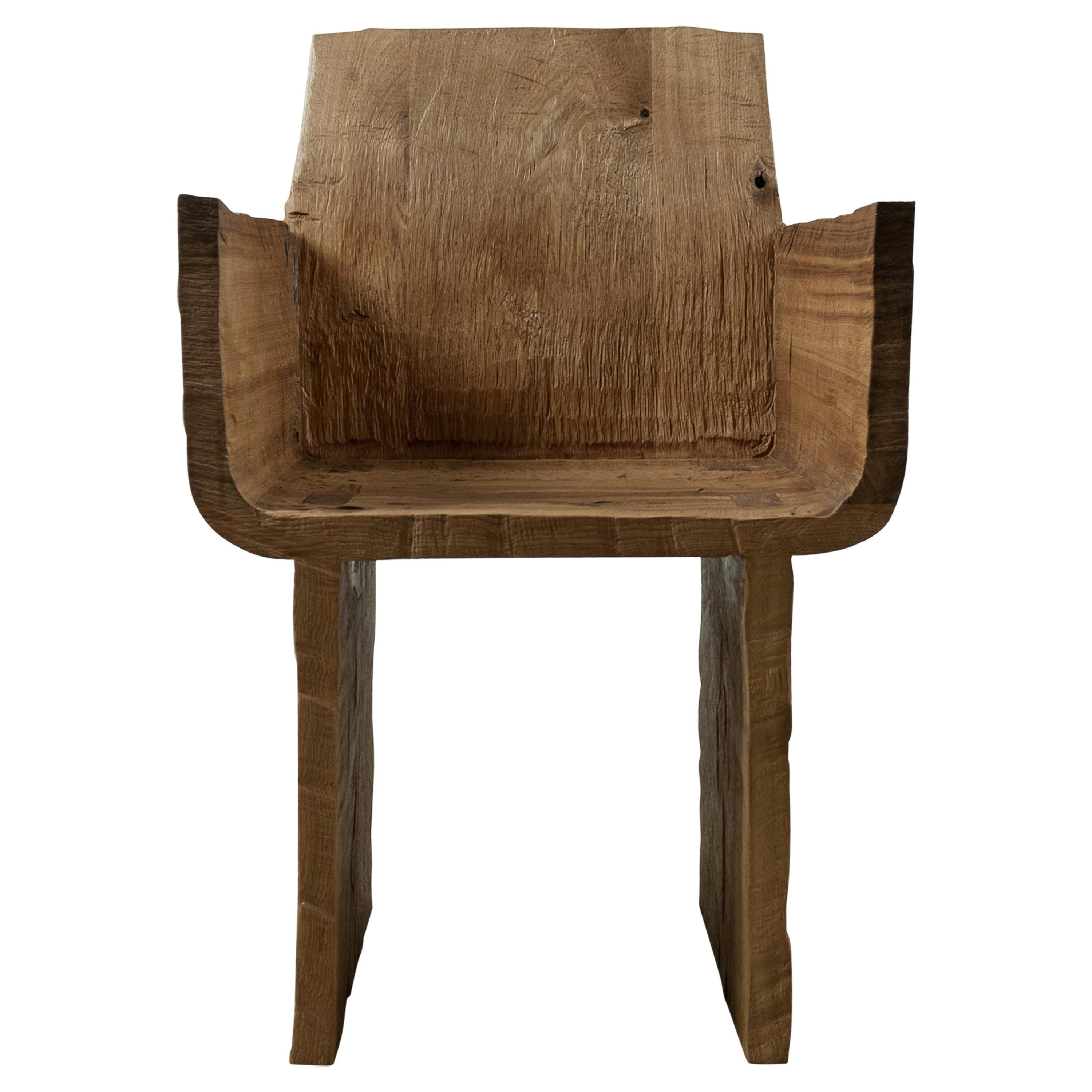 Sculpted Armchair in Solid Oak Wood