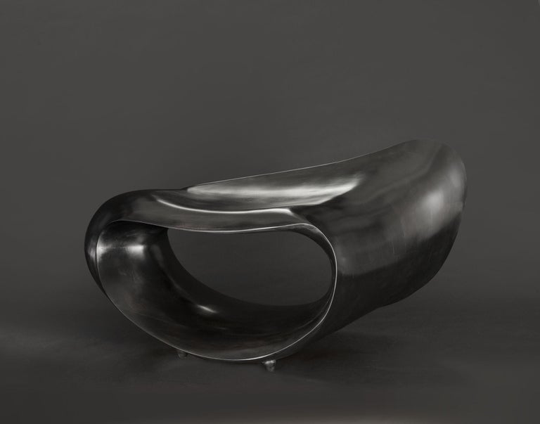 Canadian Sculpted Bench in Ebonized Maple Signed by Gildas Berthelot For Sale