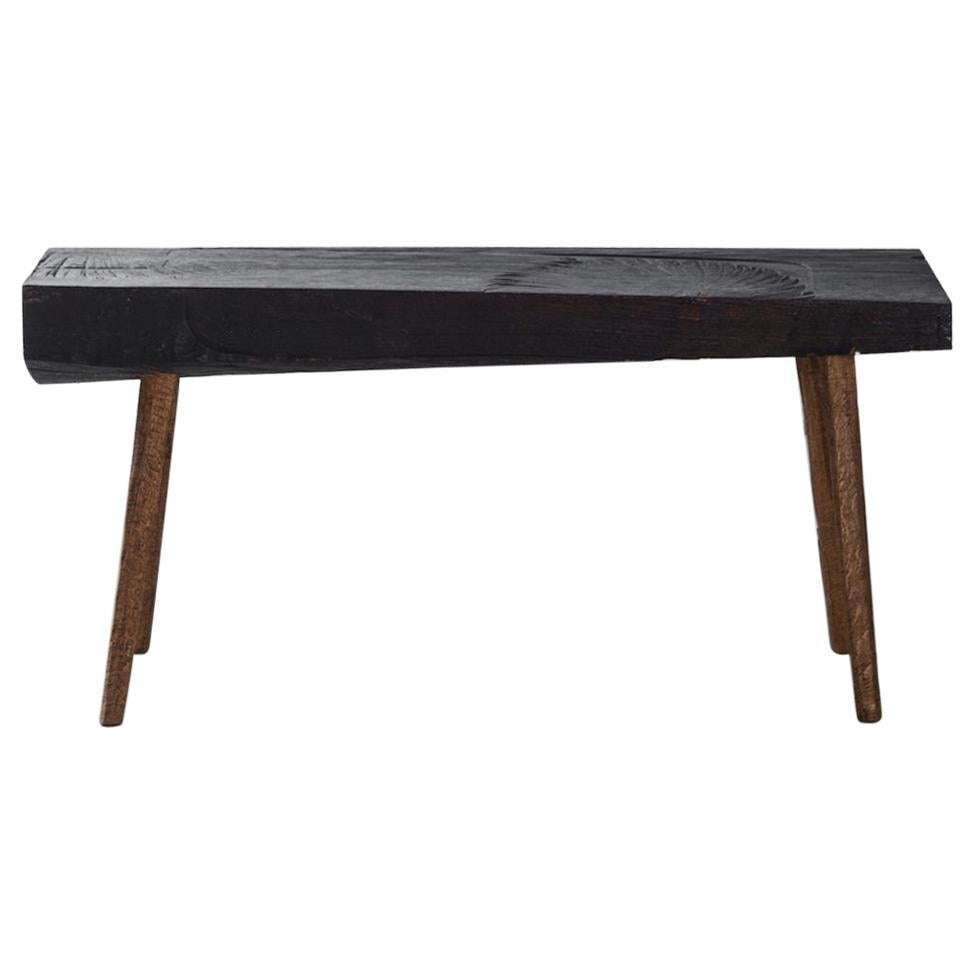 Sculpted Bench or Side Table N10 in Solid Oakwood