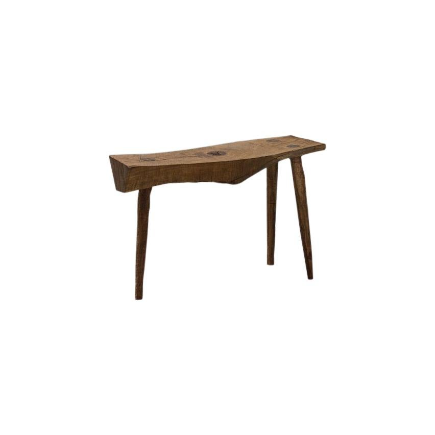 Sculpted Bench or Side Table N7 in Solid Oak Wood