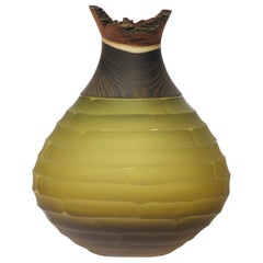 Sculpted Blown Glass and Brass Vase, Pia Wüstenberg