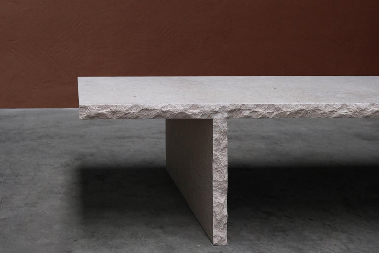 Sculpted Bourgogne Stone Coffee Table, Fruste by Frederic Saulou For Sale 4