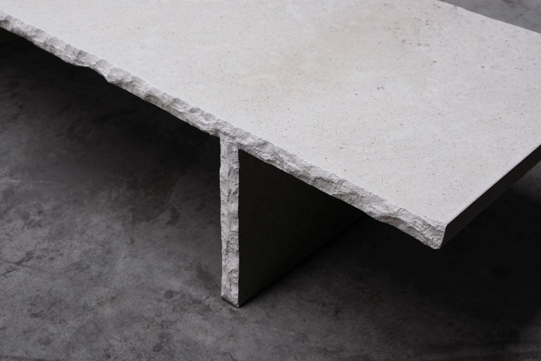 Sculpted Bourgogne Stone Coffee Table, Fruste by Frederic Saulou For Sale 5