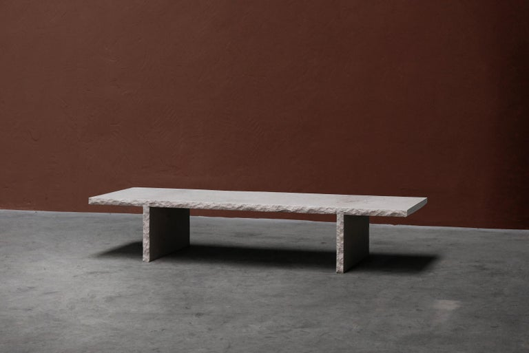 Organic Modern Sculpted Bourgogne Stone Coffee Table, Fruste by Frederic Saulou For Sale