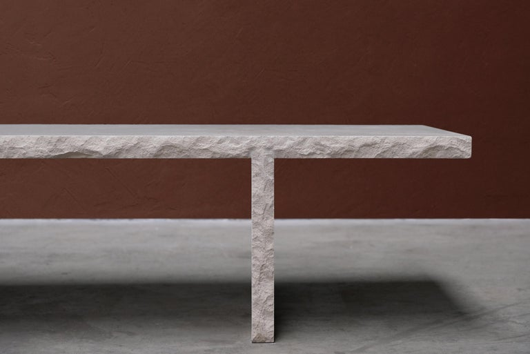 French Sculpted Bourgogne Stone Coffee Table, Fruste by Frederic Saulou For Sale