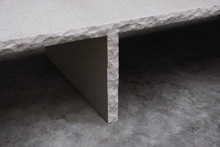 Sculpted Bourgogne Stone Coffee Table, Fruste by Frederic Saulou In New Condition For Sale In Geneve, CH