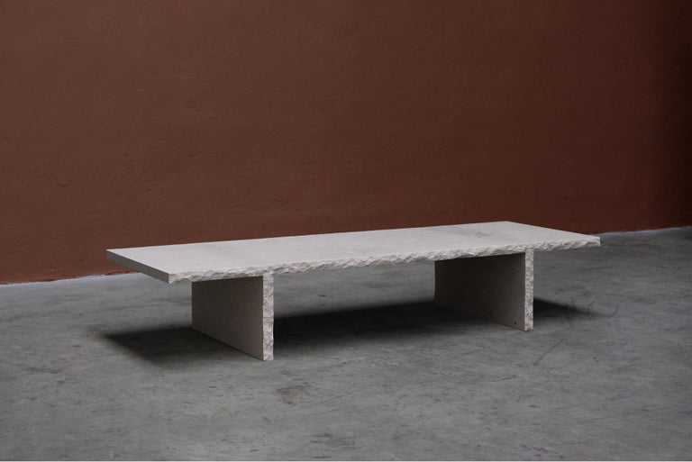 Contemporary Sculpted Bourgogne Stone Coffee Table, Fruste by Frederic Saulou For Sale