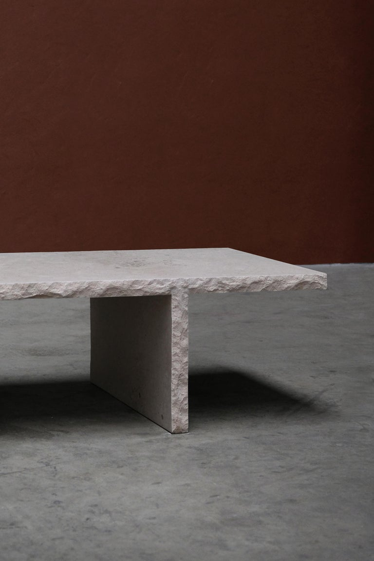 Sculpted Bourgogne Stone Coffee Table, Fruste by Frederic Saulou For Sale 1