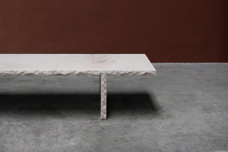 Sculpted Bourgogne Stone Coffee Table, Fruste by Frederic Saulou For Sale 2